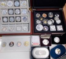 Alle Welt: Silberanleger Aufgepasst, Ein Karton Voll Mit Silbermünzen, überwiegend In Unzengröße, Te - Ohne Zuordnung