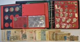 Alle Welt: Sammlung Münzen Alle Welt In 2 Alben Und Einem Taschenmünzalbum, Teils Mit Silbermünzen, - Ohne Zuordnung