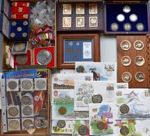 Alle Welt: Ein Karton Mit Münzen, Medaillen Und PINs Aus Aller Welt, Dabei: Einige Silbermünzen Aus - Ohne Zuordnung