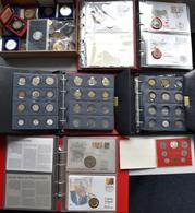 Alle Welt: Ein Karton Voll Mit Münzen Und Medaillen Aus Aller Welt. Dabei 3 Alben Mit Numisblättern, - Ohne Zuordnung