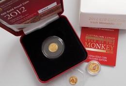Alle Welt  - Anlagegold: Lot 3 Kleingoldmünzen, Dabei: Irland 20 Euro 2012; Australien 6 Dollars 201 - Ohne Zuordnung