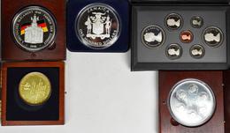 Alle Welt: Kleines Silberlot, Dabei: Jamaica 100 Dollars 1986 Fußballmünze (4 OZ); Canadaset 1987; Z - Ohne Zuordnung