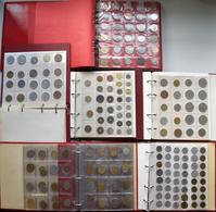 Alle Welt: 6 Münzalben Voll Mit Münzen Aus Aller Welt. Überwiegend Kleinmünzen, Ohne Silbermünzen. - Ohne Zuordnung