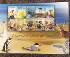 Namibia 2010 Endangerd Species Set In Sheetlet MNH ( See Postage Below) - Namibia (1990- ...)