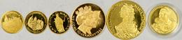 Medaillen: Lot 6 Goldmedaillen, Dabei: Maria Theresia; Patrona Bavariae; Tuttlingen (2x); Madonna Mi - Entriegelungschips Und Medaillen