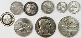 Medaillen Alle Welt: Frankreich: 9 Silbermedaillen; U.a. Louis XVI., Napoleon I., Napoleon III., Seh - Entriegelungschips Und Medaillen