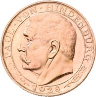 Medaillen Deutschland: Weimarer Republik: Lot 4 Goldmedaillen; Hindenburg 1928, Stempel Von Karl Goe - Deutschland