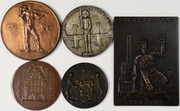 Medaillen Deutschland: Lot 5 Stück; Essen: Bronzeplakette 1925, Die Befreiung Der Ruhr / Dortmund: B - Deutschland