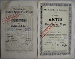 Alte Aktien / Wertpapiere: DEUTSCHLAND, Esslingen (Ba-Wü). Lot 4 Verschiedene Aktien Aus Esslingen: - Shareholdings