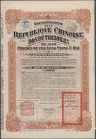 Alte Aktien / Wertpapiere: Gouvernement De La Republique Chinoise, Bon Du Tresor 8% 1920 + 1921 über - Shareholdings