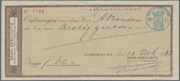 Alte Aktien / Wertpapiere: SCHECK: Niederlande, Dordrecht: 3 Schecks Der Bank-Associatie Wertheim & - Shareholdings