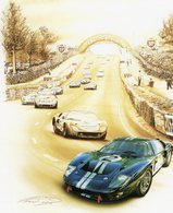 24 Heures Du Mans 1966 - FORD GT40 - Pilotes: McLaren/Amon - Tableau De Francois Bruère - Art Card  -  CPM - Le Mans