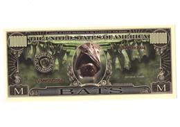 USA DOLLARS BILLETE IMITACIÓN BANKNOTE PAPEL MONEDA SIN VALOR LEGAL BAT BATS MURCIÉLAGO MURCIÉLAGOS VAMPIRE VAMPIRES VER - Specimen