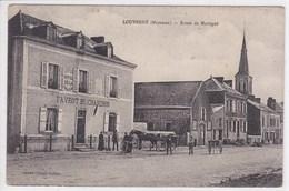 53 LOUVERNE Route De Martigné Façade Hôtel Favrot ,tabac ,attelage Charette - Louverne