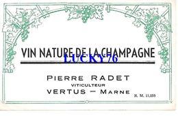 Etiquette Vin Nature De Champagne Pierre Radet Vertus - Champagne