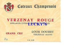 Etiquette Coteaux Champenois Grand Cru Verzenay Rouge Louis Dousset - Champagne
