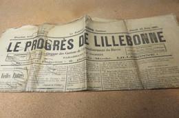 Journal LE PROGRES DE LILLEBONNE 1896 COURSE LE HAVRE ROUEN LE HAVRE SAINT ROMAIN DE COLBOSC - Kranten