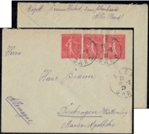 France Ales Gard 1927 Cover Send To Germany - 3 X 50c Red Stamps - Storia Postale