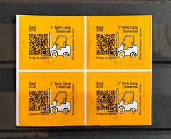 Brazil Stamp Selo Regular Serviço De Logistica 2019 Logistic Service Transport Block Of 4 - Brazilië