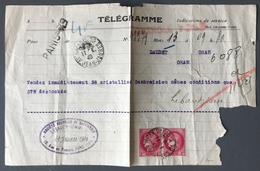 France, 11 Janvier 1940 - Rare Télégramme Affranchit N°373 (x2) - (B1750) - Marcophilie (Lettres)