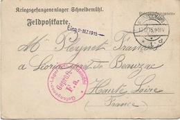 WW1 Schneidemuhl 1915 Gepruft F A  Adressé à Lioriac  Près De Beauzac - Deutschland