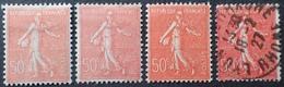 R1615/1631 - 1924 - TYPE SEMEUSE FOND LIGNE - N°199 NEUFS* (x3) /☉(x1) - 1903-60 Säerin, Untergrund Schraffiert
