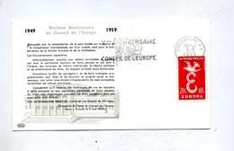 Lettre Flamme Strasbourg Anniversaire Conseil Europe - Mechanische Stempels (reclame)