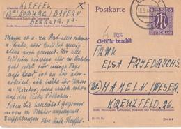 ALLEMAGNE  1946  ZONE ANGLO-AMERICAINE ENTIER POSTAL  /GANZSACHE/POSTAL STATIONERY CARTE DE COBURG - Zona Anglo-Americana