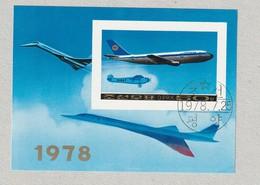 DPR North Korea 1978, Airplanes Lufthansa, Concorde, A1614, 53, Scott# 1750, Geschnittener Gestempelter Block - Korea (Nord-)