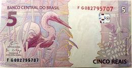 Brazil Banknote Cédula Flor De Estampa R$ 5 Reais Segunda Família FG.082.795.707 Guardia E Goldfajn UNC Bird - Brazil