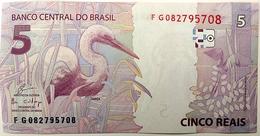 Brazil Banknote Cédula Flor De Estampa R$ 5 Reais Segunda Família FG.082.795.708 Guardia E Goldfajn UNC Bird - Brazil