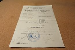 VILLE DU HAVRE 1917 LAISSEZ PASSER A PIEDNOEL POUR BOLBEC SIGNE PAR LE COMISSAIRE DE POLICE - 1914-18