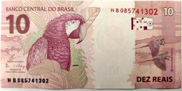 Brazil Banknote Cédula Cédula Flor De Estampa R$ 10 Reais Segunda Família HB.085.741.302 Guardia E Goldfajn UNC Bird - Brasilien