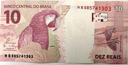 Brazil Banknote Cédula Flor De Estampa R$ 10 Reais Segunda Família HB.085.741.303 Guardia E Goldfajn UNC Bird - Brasilien