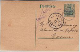 LP Belgien - 5 C. Ganzsache Gedinne Namur 1915 Zensur-L2 Kreischef Philippeville - Esercito Tedesco