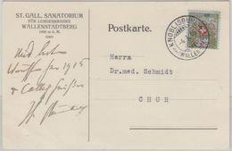 Schweiz - 5 Rp. Portofreiheitsmarke Karte Lungensanatorium Knoblisbühl 1915 - Portomarken