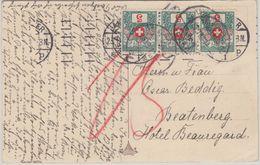 Schweiz - 3x5 Rp. Portomarke Karte Hannover - Beatenberg 1912 - Portomarken