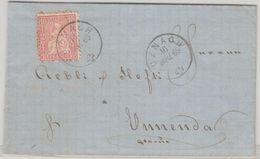 Schweiz - 10 C. Sitz. Helvetia Brief Uzach - Ennenda 1869 - Mit Inhalt - Switzerland