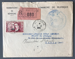 Sénégal, Lettre De Rufisque Pour Paris 1953 - LSC - Adressée à Léopold Sédar Senghor - (B1775) - Senegal (1887-1944)