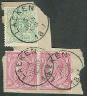 N°45-46(2) - Affr. Cà 25c.  Obl. Sc LAEKEN 3 Juin 1887 Sur Fragment - 14993 - 1884-1891 Léopold II