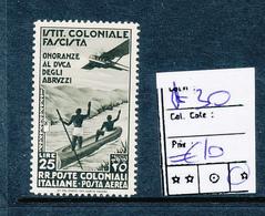 ITALIAN COLONIES SASSONE AIR A30 LH - Italie