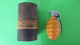 Grenade à Main Défensive US MKII ( Modèle Avant 1942 ) + Container M41 - Armi Da Collezione
