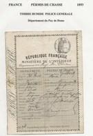 FISCAUX PERMIS DE CHASSE 1904 - Revenue Stamps