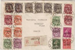 ANDORRE Francais Lettre De 1931 Type Blanc Et Semeuse Surcharges VRAI COURRIER TRES RARE !!! Andora , Espagne Espana - Lettres & Documents