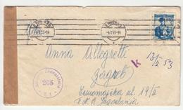 Austria Censored Letter Cover Posted 1953 Wien To Zagreb B200110 - 1945-60 Briefe U. Dokumente