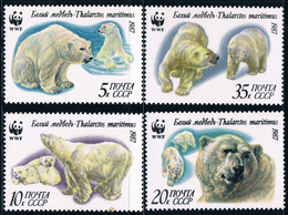 USSR Russia 1987 WWF W.W.F. Polar Bears White Bear Wild Animals Fauna Animal Organization Stamps MNH Michel 5694-5697 - W.W.F.