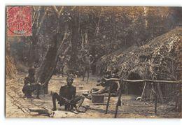 CPA Carte Photo Auguste Bechaud - Village Boubou Anthropophage - Oubangui Chari - Zentralafrik. Republik
