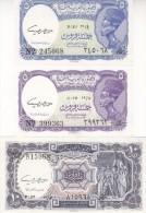 EGYPT 5 10 PT. PIASTRES 1961 P-180c,d 181d SIG/daif LOT SET UNC Cv=$30.00 */* - Egypt