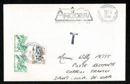 ANDORRE SECAP Andorra La Vella 10-7-86 Franchise Intérieure + Taxe Baies Poste Restante Au Tarif 2,20F St Julia Loria - Timbres-taxe