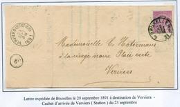 COLLECTION DE VERVIERS -  46 Sur Lettre De Bruxelles à Verviers Le 20 Sept. 1891 Sur Feuille D'album - 15012 - 1884-1891 Léopold II